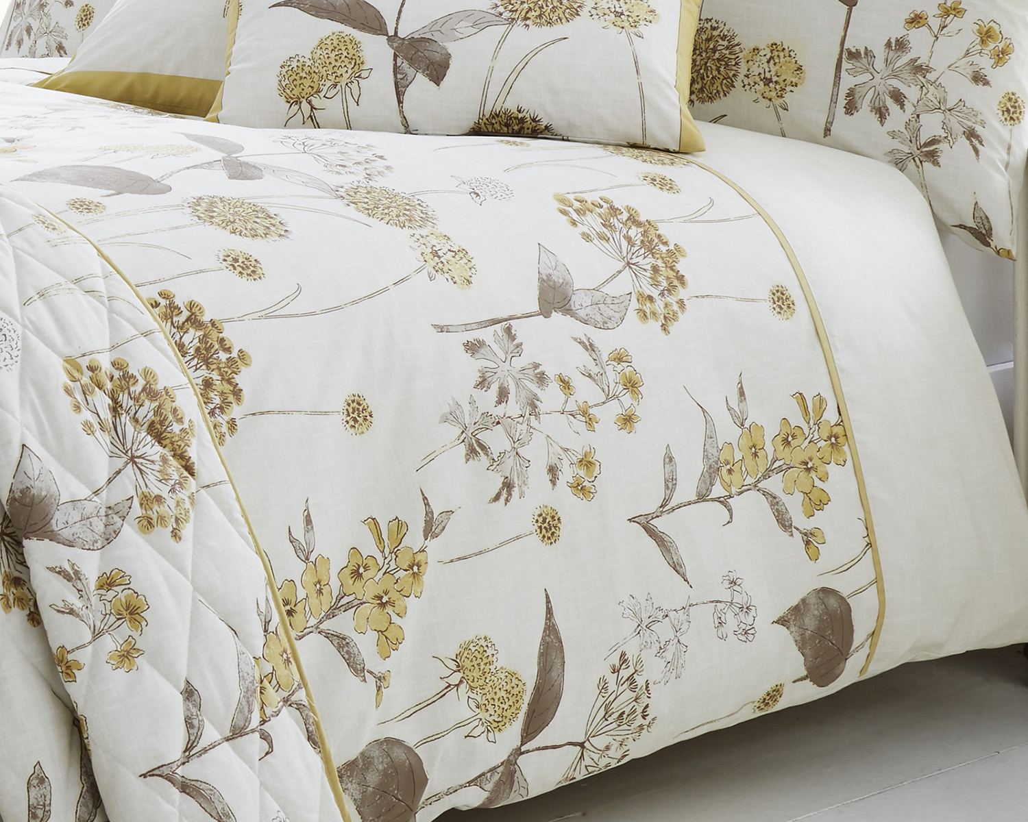 Shabby Botanical Floral Designed Bedding Range In Natural