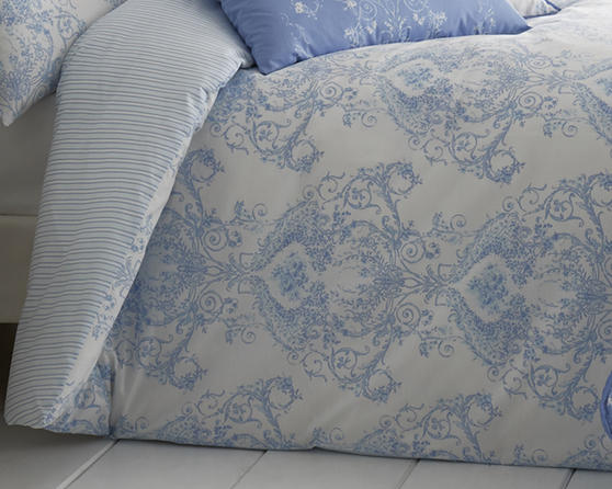 Toile Floral Damask Bedding Range in Blue Thumbnail 2