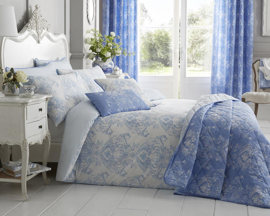 Toile Floral Damask Bedding Range in Blue Thumbnail 1