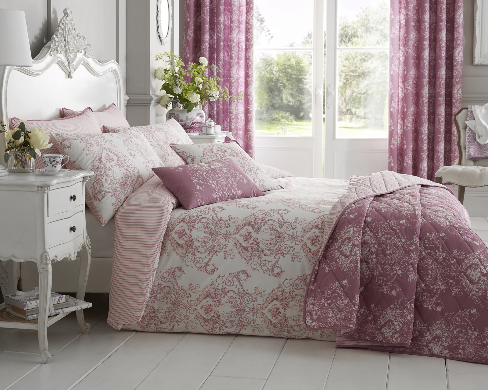 Toile Floral Damask Bedding Range in Pink
