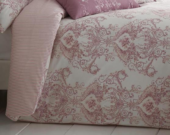 Toile Floral Damask Bedding Range in Pink Thumbnail 2