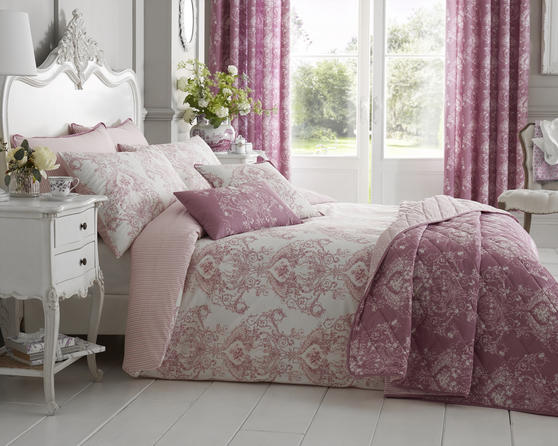 Toile Floral Damask Bedding Range in Pink Thumbnail 1