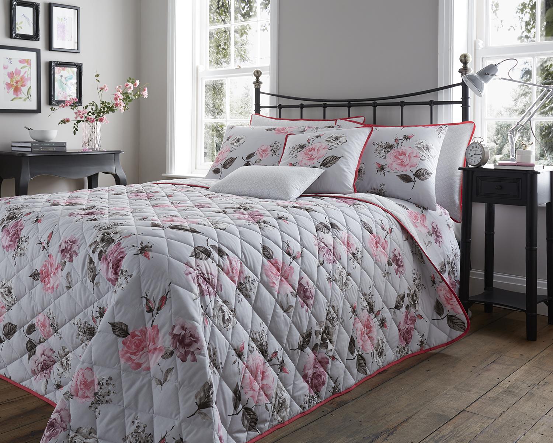 Neutral Pastel Beige Rosina Floral Print Bedding Duvet Set