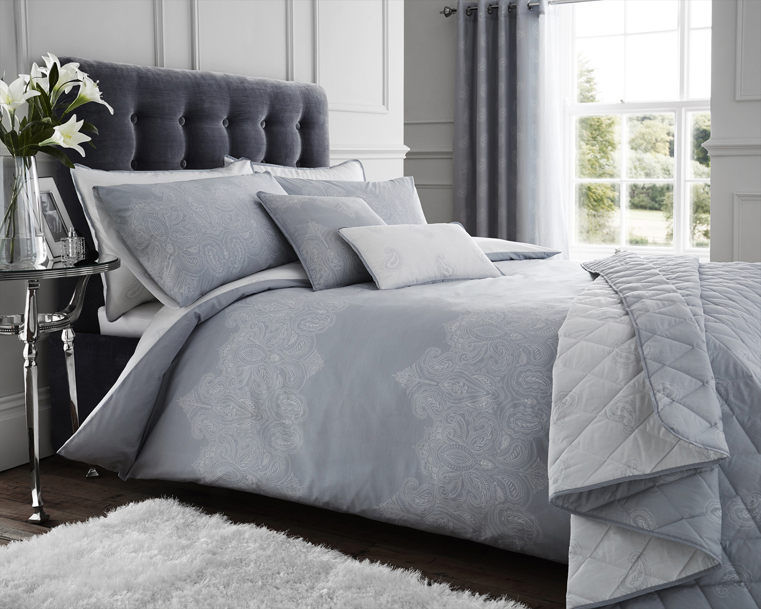 Luxury Reversable Printed Paisley Grey White Bedding Duvet Sets And Accessories Ebay