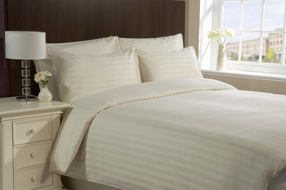 Satin Stripe 200TC Duvet Sets in Cream & White