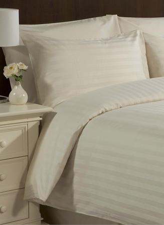 Satin Stripe 200TC Duvet Sets in Cream & White Thumbnail 2