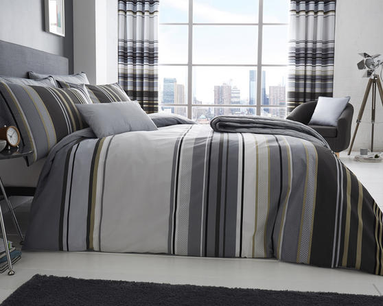 Ashcroft Stripe Duvet Set and Accessories in Grey Thumbnail 1