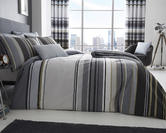 Ashcroft Stripe Duvet Set and Accessories in Grey