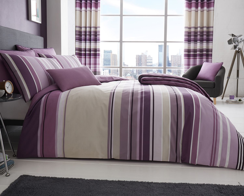 Purple Mauve Striped Duvet Cover With Pillowcase S Set Bedspread Cushion Ebay