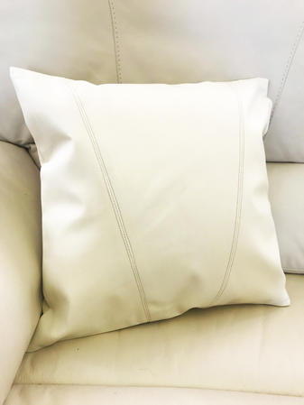 Faux Leather V Stitched Cushion Cover Thumbnail 1