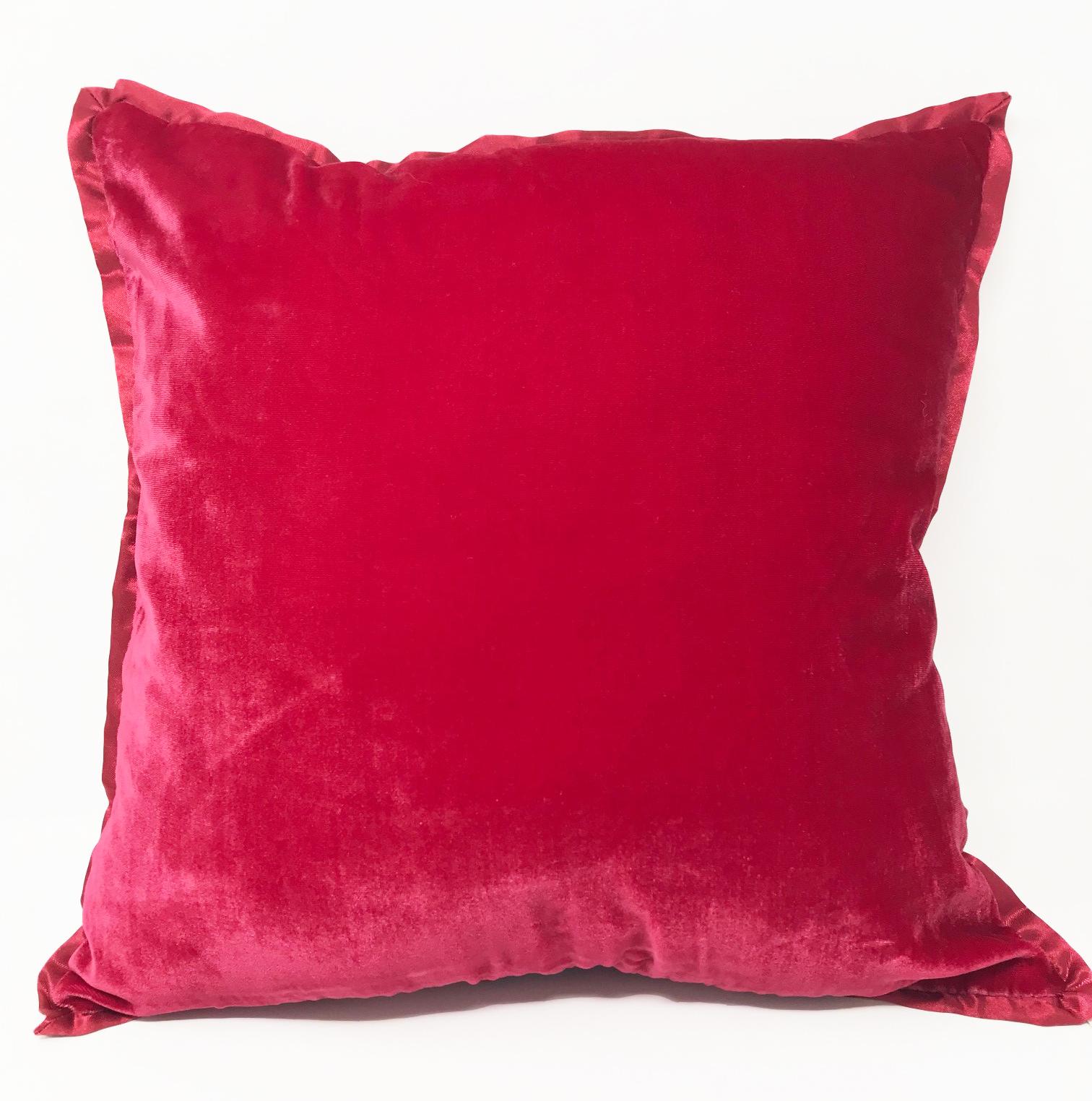 Reversible Red Velvet & Silk Blend Cushion Cover ONLY
