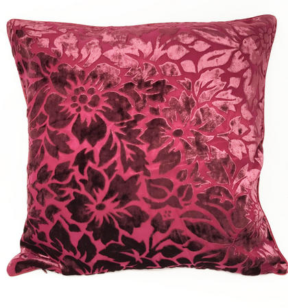 Velvet Floral Cushion Cover in Wine COVER ONLY Thumbnail 1