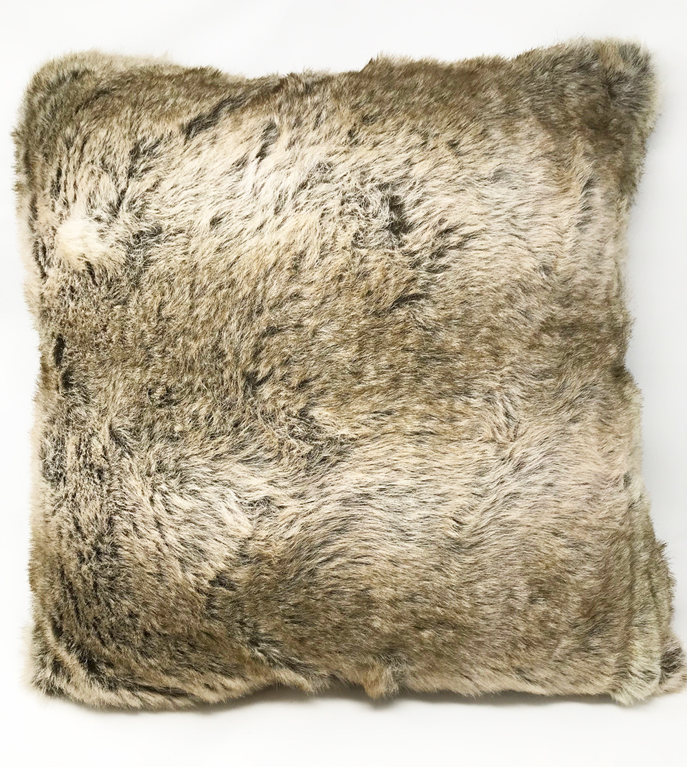 Grey Faux Wolf Furr Cushion COVER ONLY
