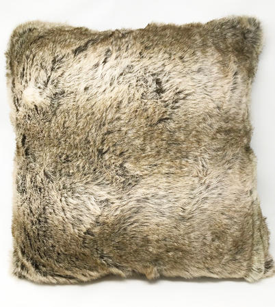 Grey Faux Wolf Furr Cushion COVER ONLY Thumbnail 1
