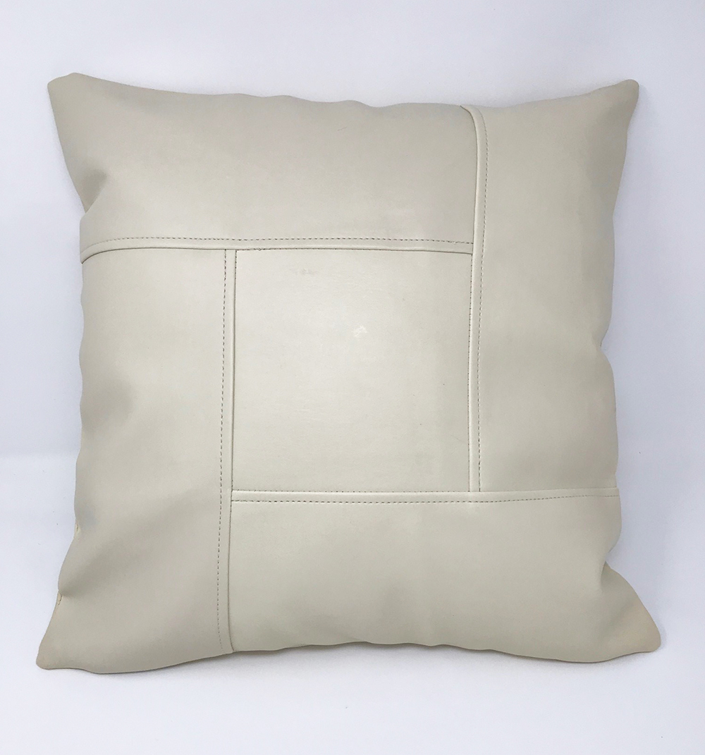 Square Stitch Faux Leather Cushion COVER ONLY