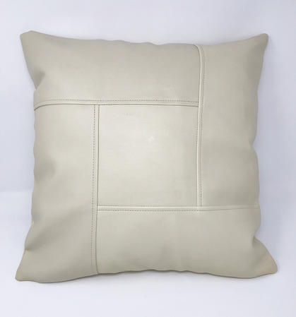 Square Stitch Faux Leather Cushion COVER ONLY Thumbnail 1