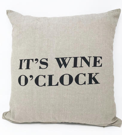 """It's Wine O'clock"" Cushion COVER ONLY Thumbnail 1"