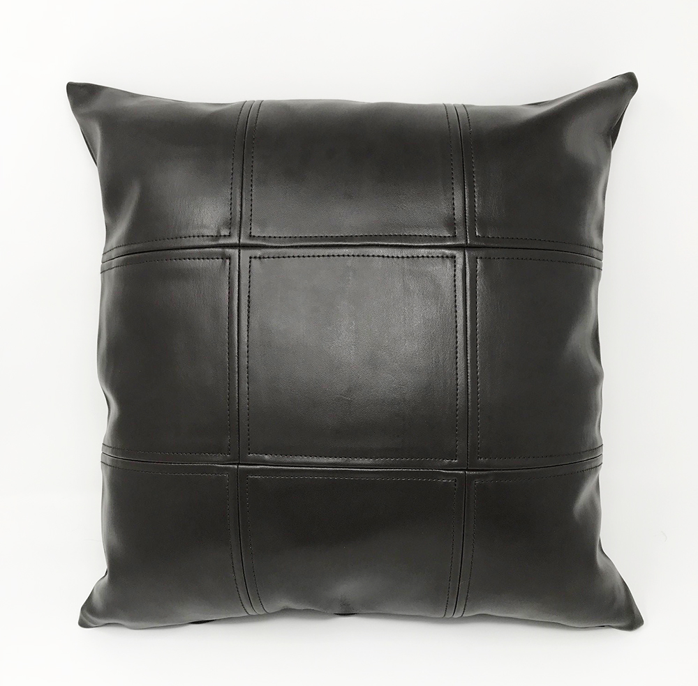 Brown Faux Leather Grid Cushion COVER ONLY