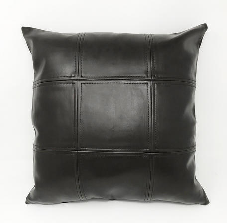 Brown Faux Leather Grid Cushion COVER ONLY Thumbnail 1