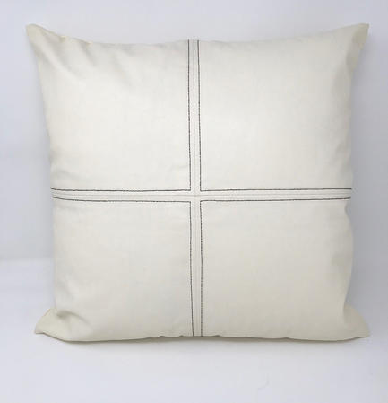 Cream Faux Leather with Black Stitch Detail Cushion COVER ONLY Thumbnail 1