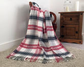 Faux Wool Tartan Check Throw in Pink and Grey