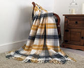 Faux Wool Tartan Check Throw in Yellow and Grey