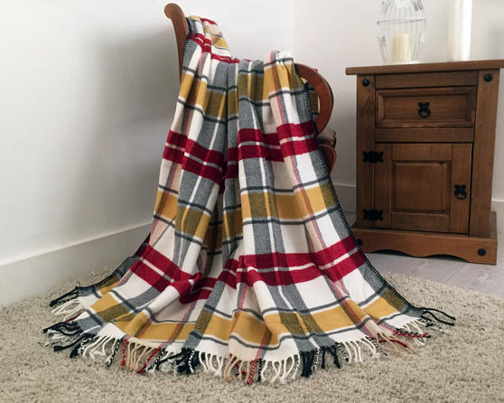 Faux Wool Tartan Check Throw in Yellow and Red Thumbnail 1