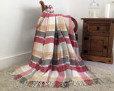 Faux Wool Tartan Check Blanket in Pastel Pink