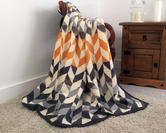 Cotton Rich Geometric Throw in Orange