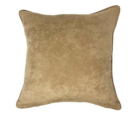 Plain Suede Mock Mocha 45cm x45cm Piped Cushion Cover Only