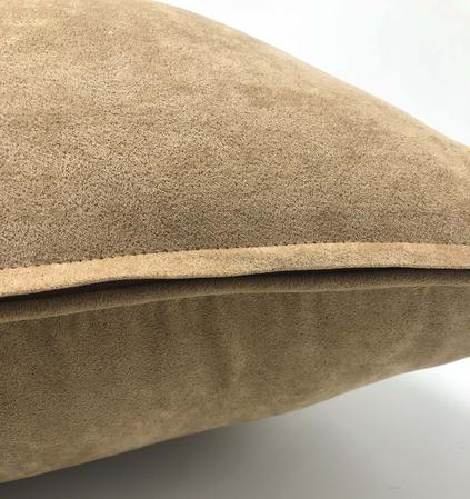 Plain Suede Mock Mocha 45cm x45cm Piped Cushion Cover Only Thumbnail 2