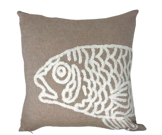 Natural White Fish Boucle 43cm x43cm 100% Cotton Cushion Cover Only Thumbnail 1