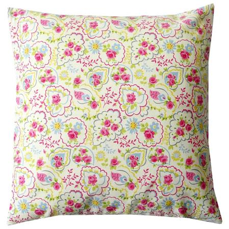 Printed Paisley Rose 100% Cotton 45cm x45cm Piped Cushion Cover Only Thumbnail 1