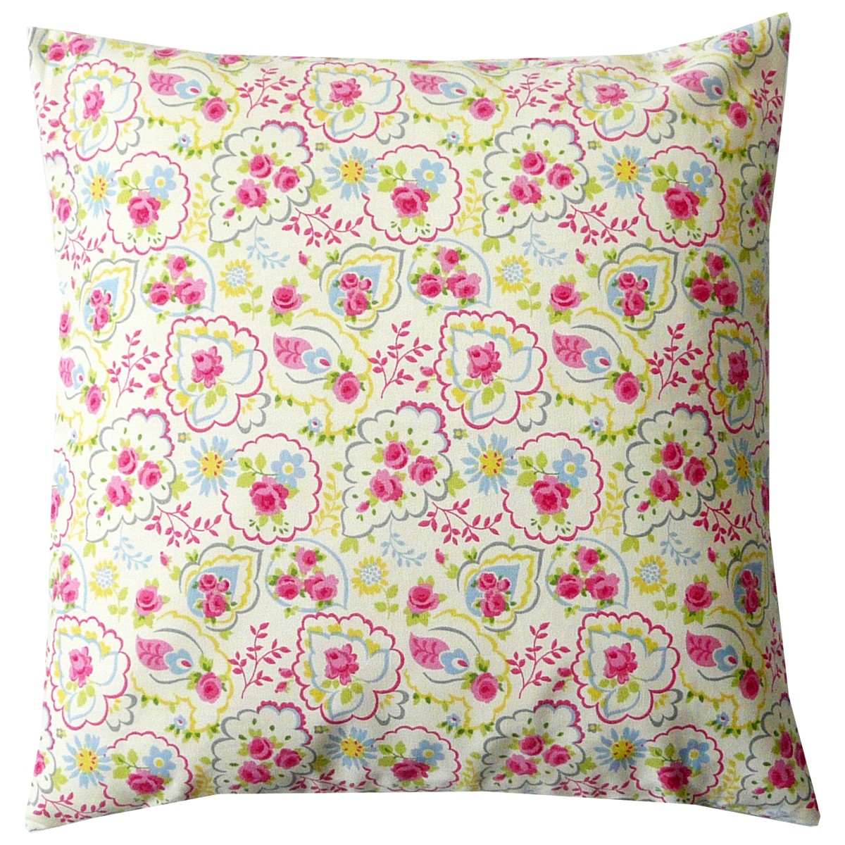 Printed Paisley Rose 100% Cotton 45cm x45cm Piped Cushion Cover Only