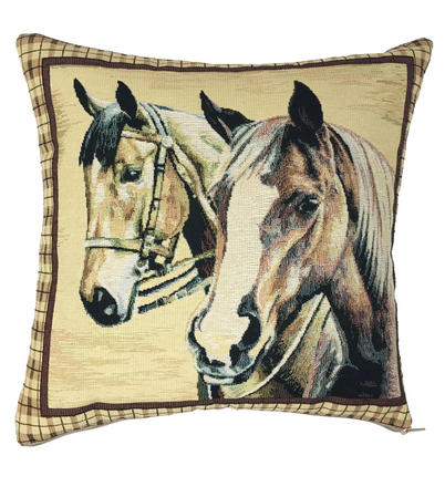 Embroidered Belsay Horse Square 32cm x32cm Cushion Cover Only Thumbnail 1