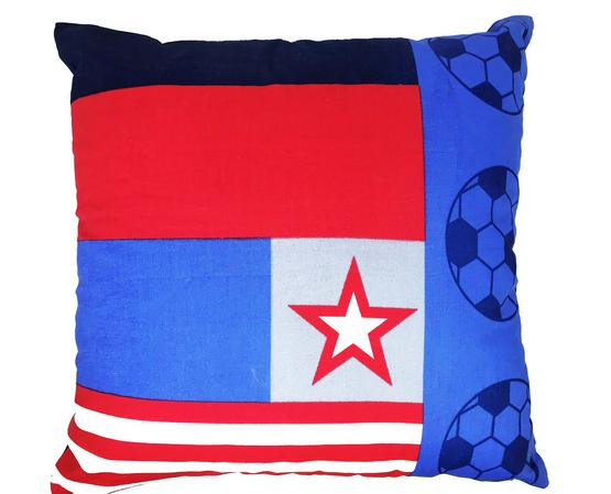 Kids Football Theme Blue White Red 54cm x54cm Cushion Cover Only Thumbnail 1