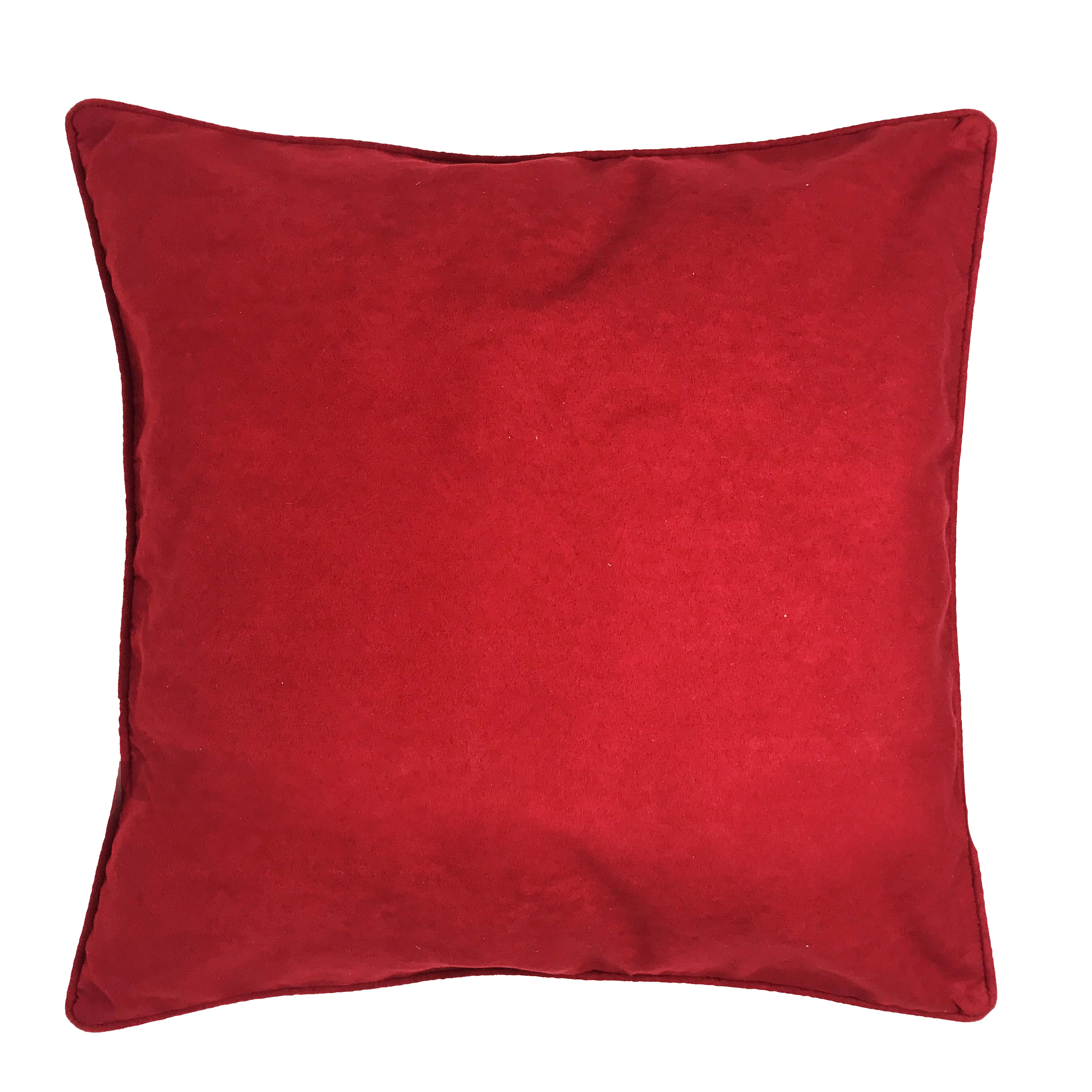 Piped Edge Red Suede 45cm x 45cm Hollowfibre Bounce Back Filled Cushion