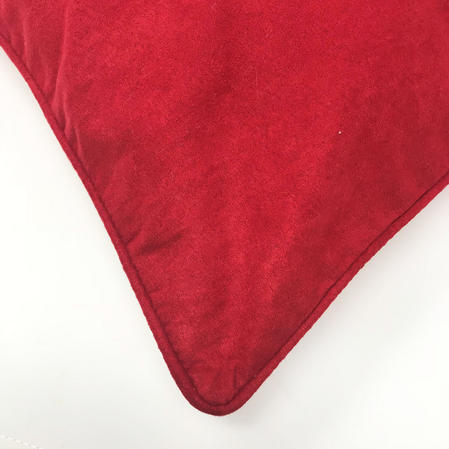Piped Edge Red Suede 45cm x 45cm Hollowfibre Bounce Back Filled Cushion Thumbnail 2