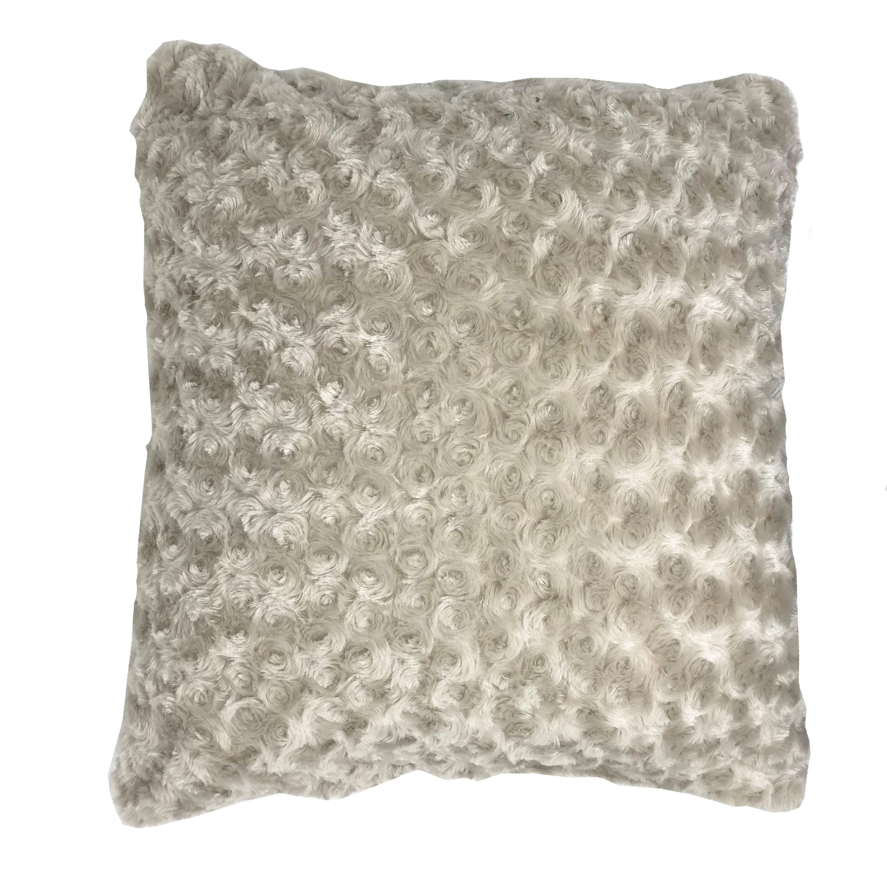 Luxury Swirl Faux Fur Grey 45cm x 45cm Hollowfibre Bounce Back Filled Cushion