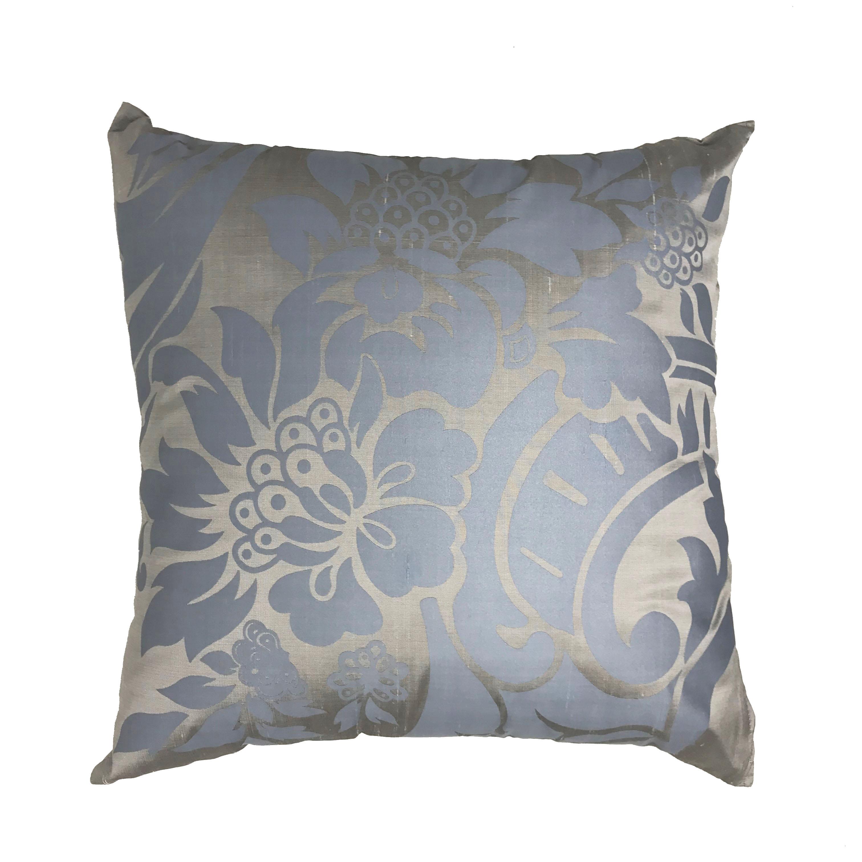 Silk Rich Silver Blue Flower Flock  40cm x 40cm Cushion Cover Only
