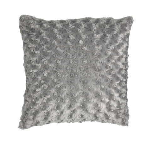 Silver Swirl Faux Fur Suede Reverse 43cm x 43cm Cushion Cover Only Thumbnail 1