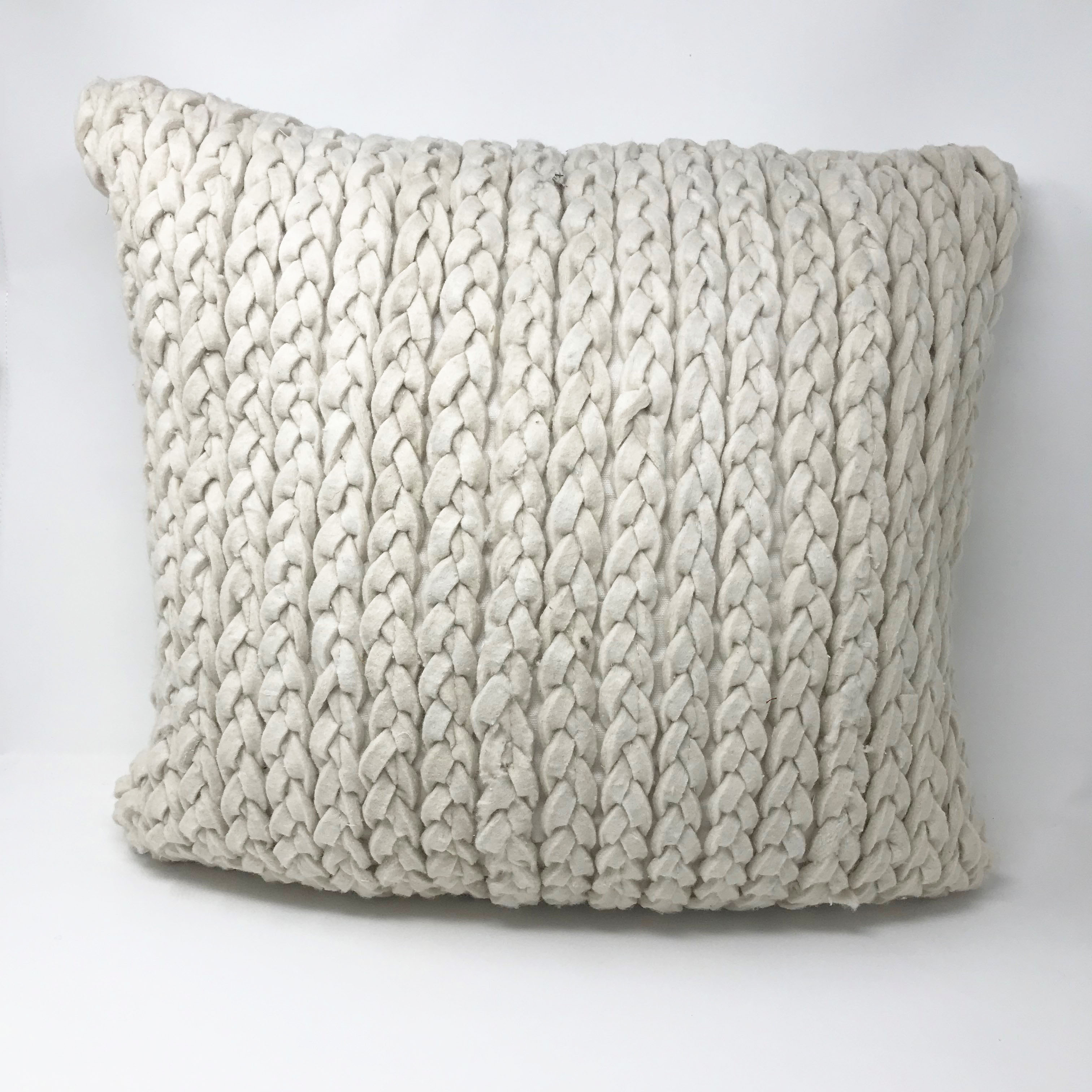 Plait Style Wool Rich Cotton Back Square Euro 50cm x 50cm Cushion Cover Only
