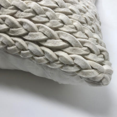 Plait Style Wool Rich Cotton Back Square Euro 50cm x 50cm Cushion Cover Only Thumbnail 2