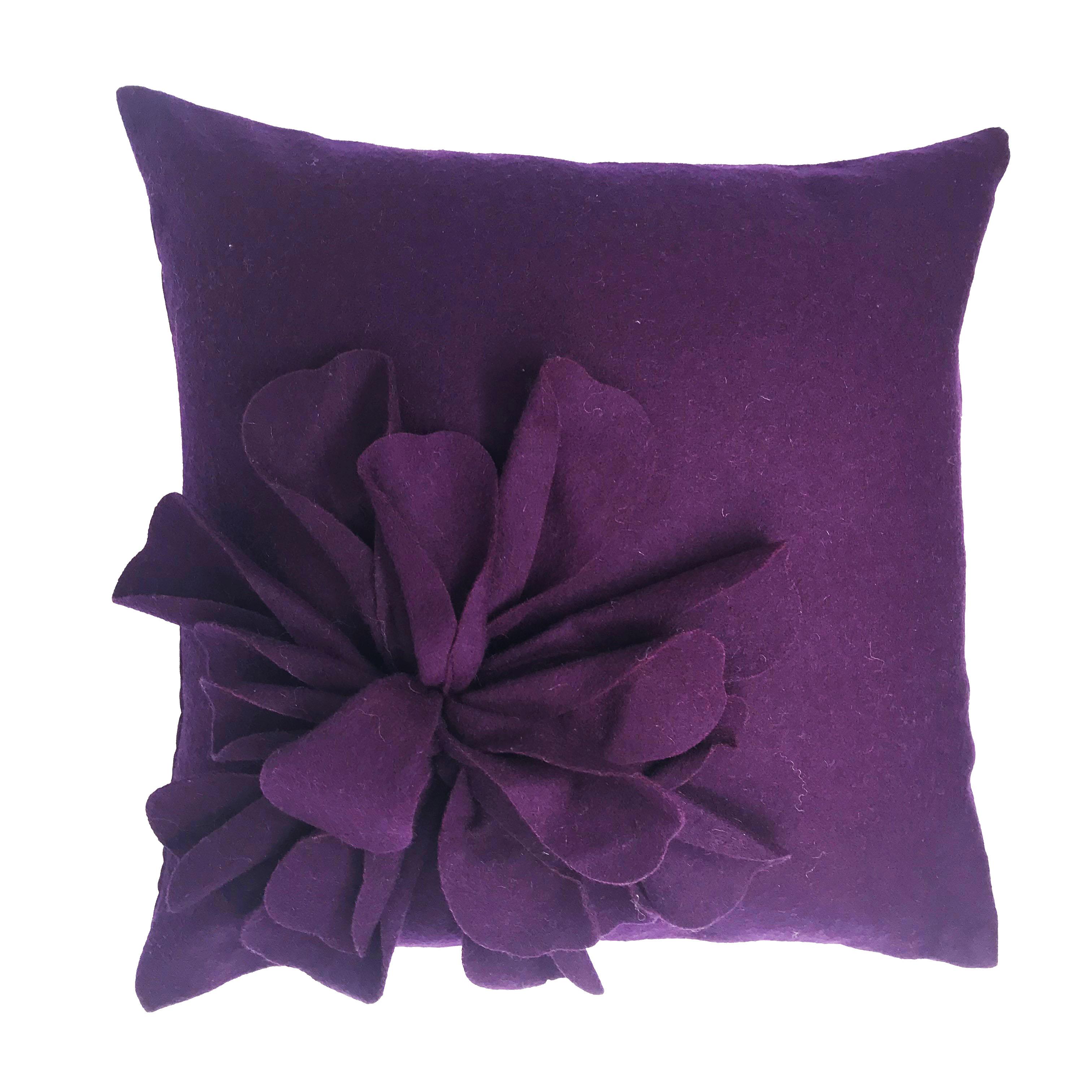 Bohemia Purple Aubergine Wool Rich 3D Flower 45cm x 45cm Cushion Cover Only