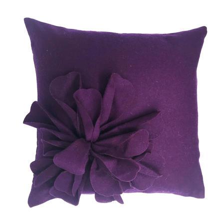 Bohemia Purple Aubergine Wool Rich 3D Flower 45cm x 45cm Cushion Cover Only Thumbnail 1
