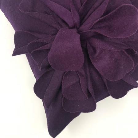Bohemia Purple Aubergine Wool Rich 3D Flower 45cm x 45cm Cushion Cover Only Thumbnail 2