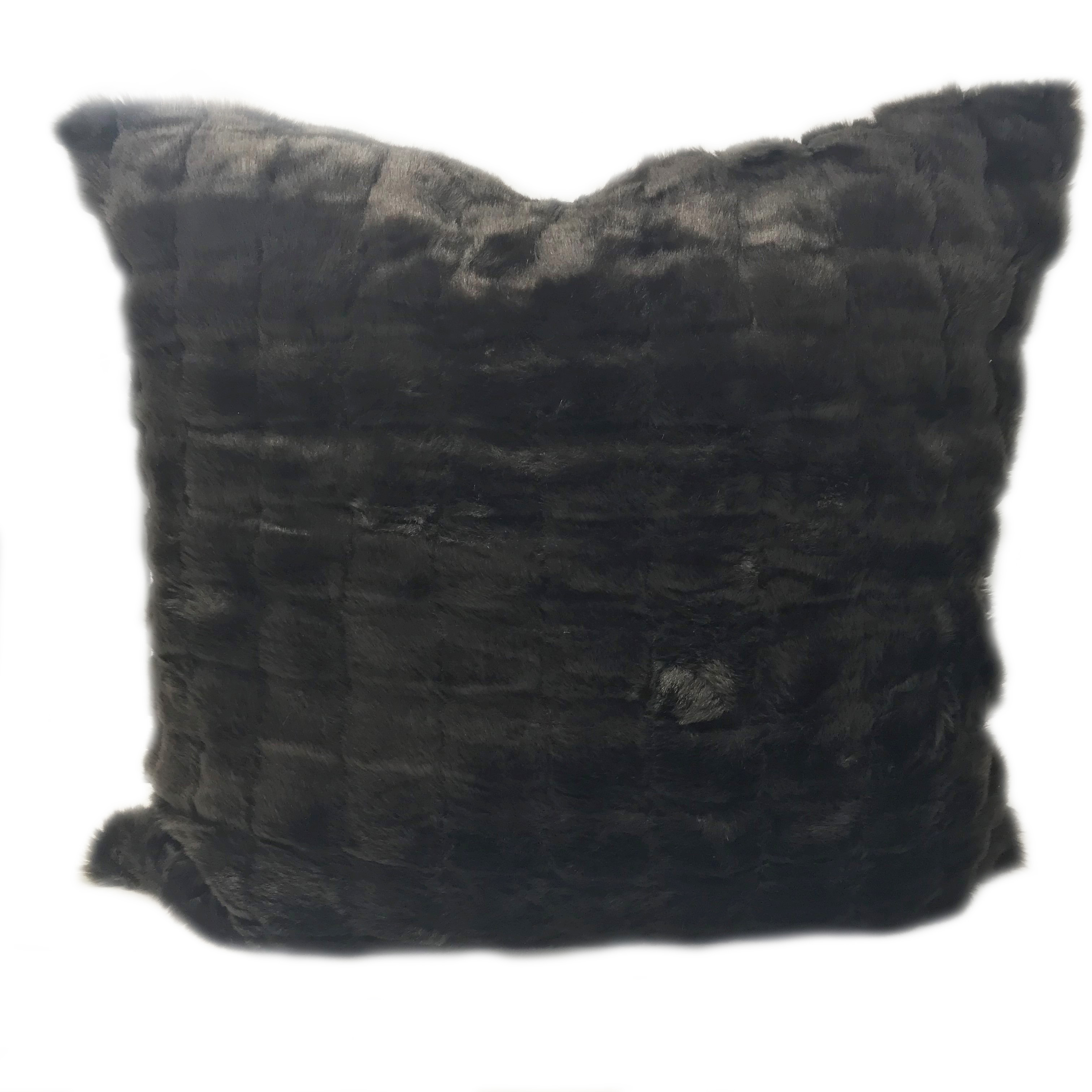 Acrylic Faux Fur Chocolate 65cm x 65cm Euro Square Cushion Cover Only