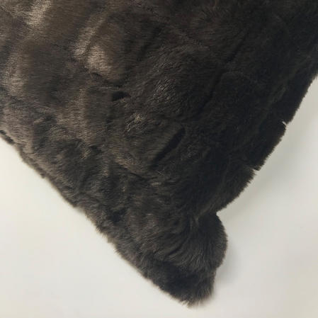 Acrylic Faux Fur Chocolate 65cm x 65cm Euro Square Cushion Cover Only Thumbnail 2