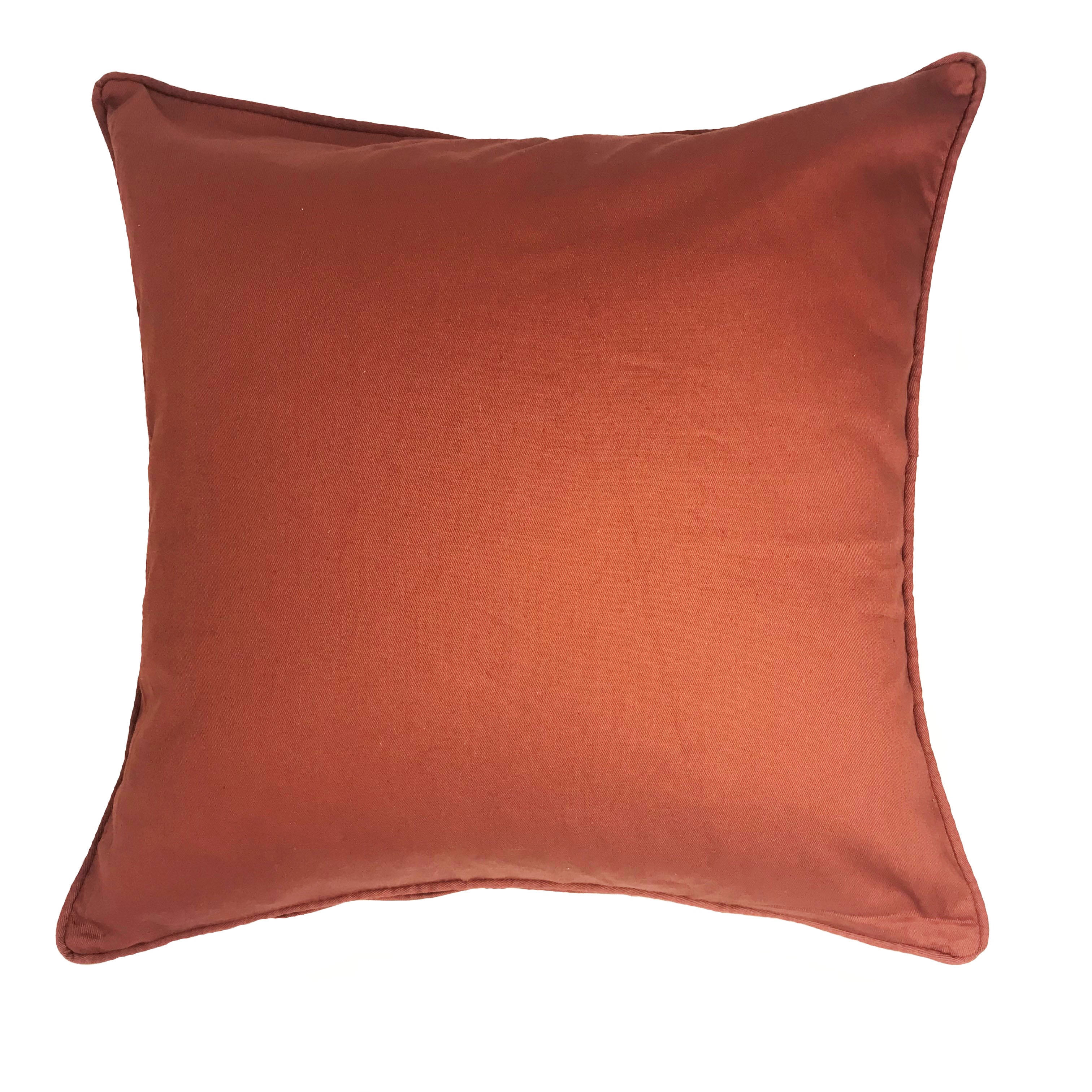 Drill Plain Terracotta 100% Cotton 43cm x 43cm Cushion Cover Only