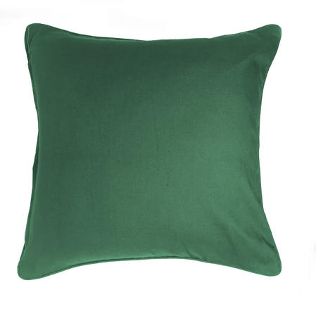Eden Plain Green Cotton Piped 43cm x 43cm Cushion Cover Only Thumbnail 1
